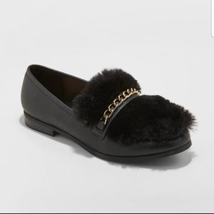 Women's Faux Leather Fur Loafers Black Size 9
